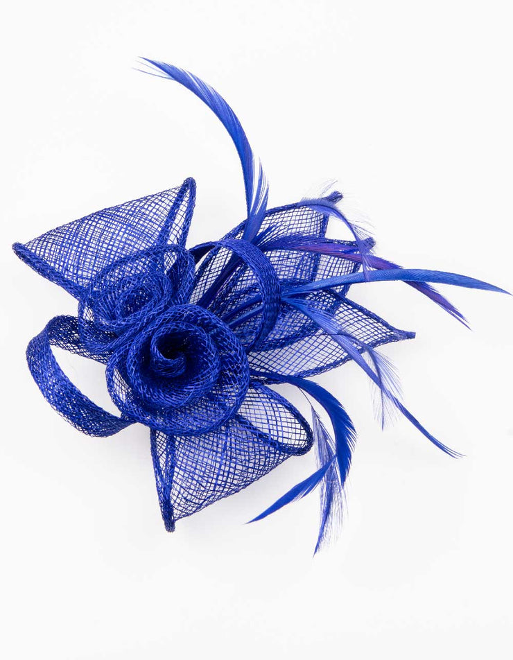 Fascinator Small Floral Feather Royal Blue