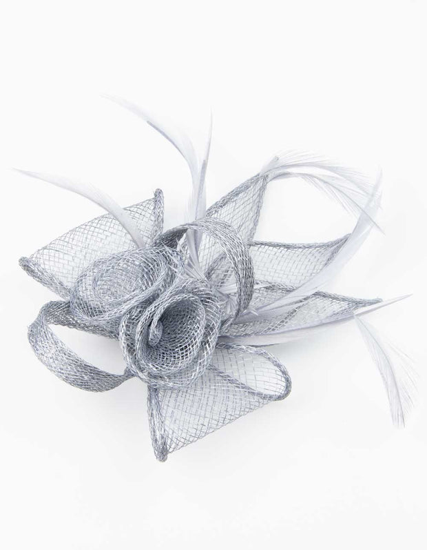 Fascinator Small Floral Feather Silver Grey