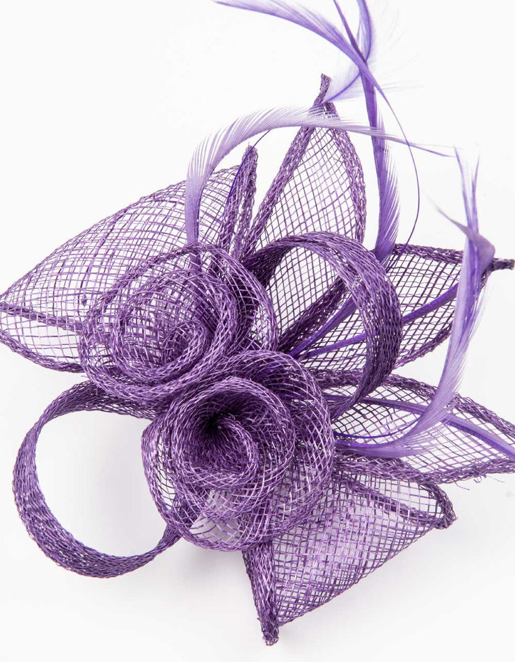 Fascinator Small Floral Feather Violet