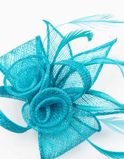 Fascinator Small Floral Feather Aqua Blue