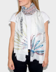 Image Showing Feather Printed Scarf