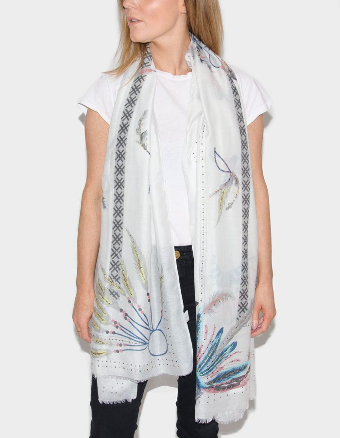 Image Showing Feathers Printed Scarf