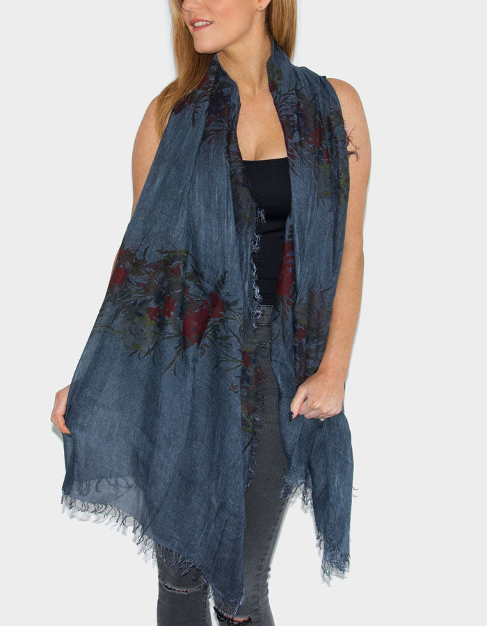 Floral Print Italian MicroModal Scarf - Dark Blue and Dark Red