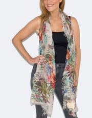 Floral Print Italian MicroModal Scarf - Red and Pink Multicoloured