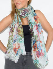 Floral Print Italian MicroModal Scarf - Red and Green Multicoloured