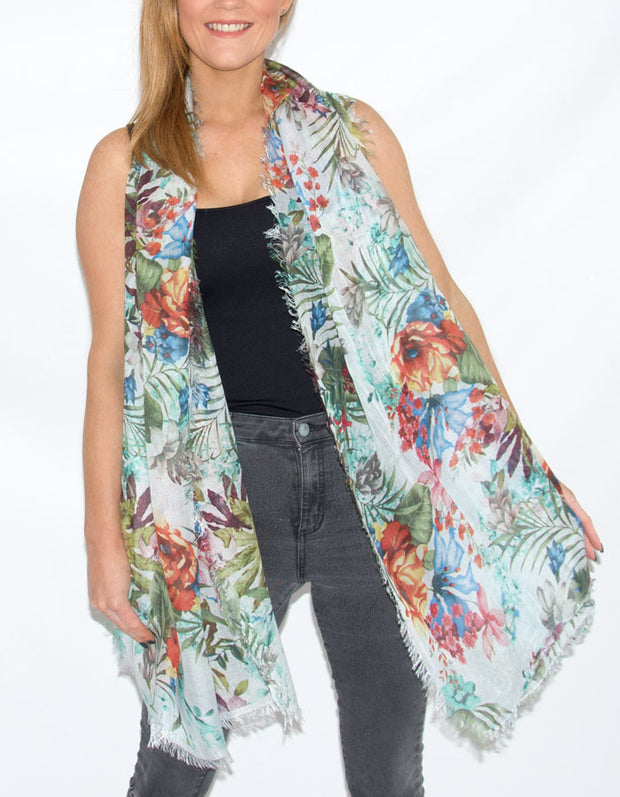 Floral Print Italian MicroModal Scarf - Red and White Multicoloured