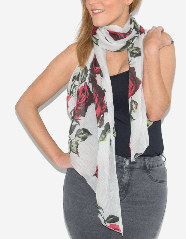 Floral Print Italian Silk Mix Scarf - Red And Grey