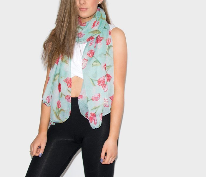 Floral Print Scarf - Tulips - Green and Red