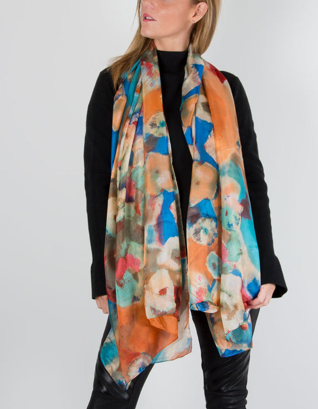 image showing pure silk floral scarf in orange