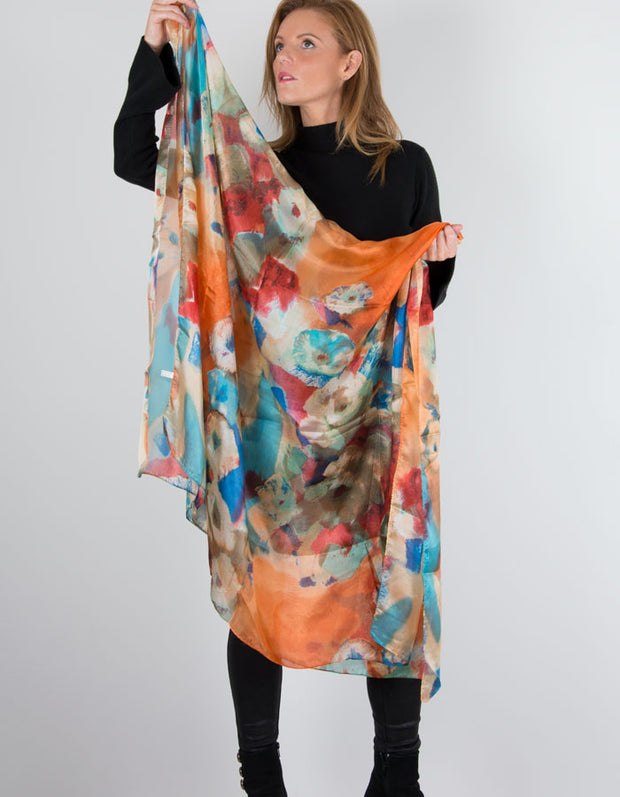 Image of an Orange Silk Scarf Floral Print
