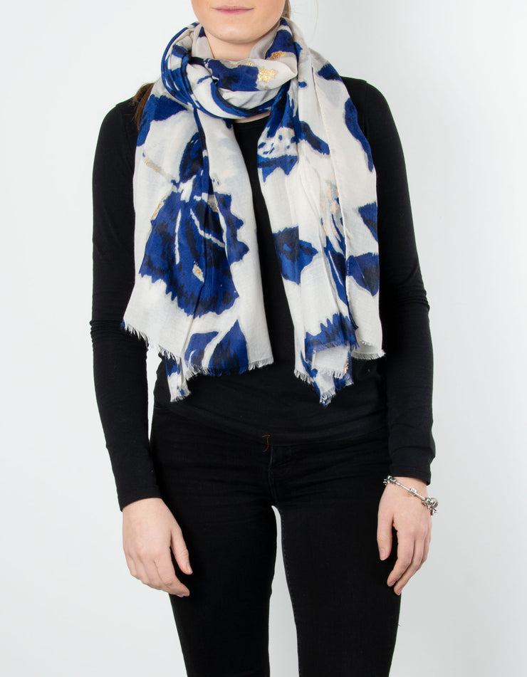 Floral Scarf | Blue, Grey & Gold