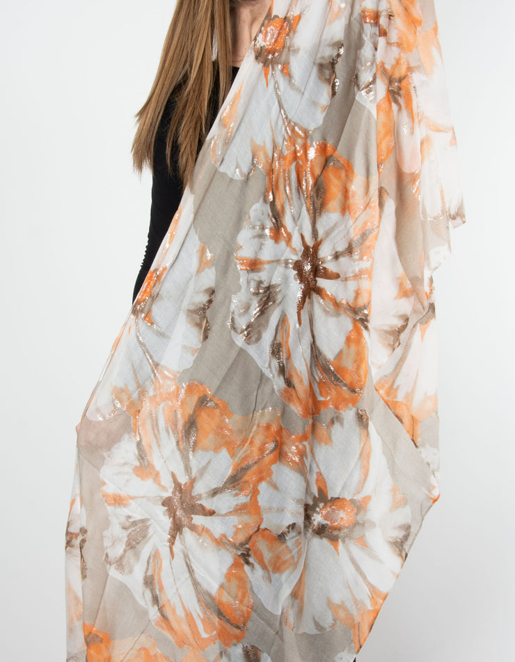 Floral Scarf | Orange, Beige & Silver