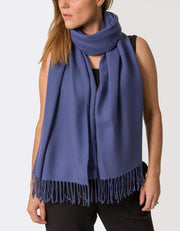 Image Showing a French Navy Pashmina Shawl Wrap
