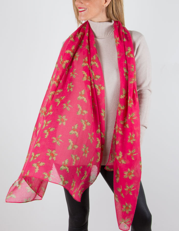 Fuchsia Pink Holly Christmas Novelty Christmas Scarf