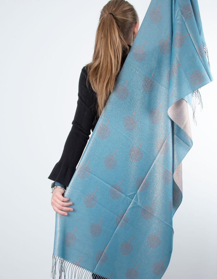 Glitter Mulberry Tree Pashmina - Teal