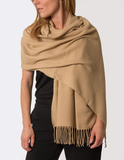 Image Showing a Gold Pashmina Shawl Wrap