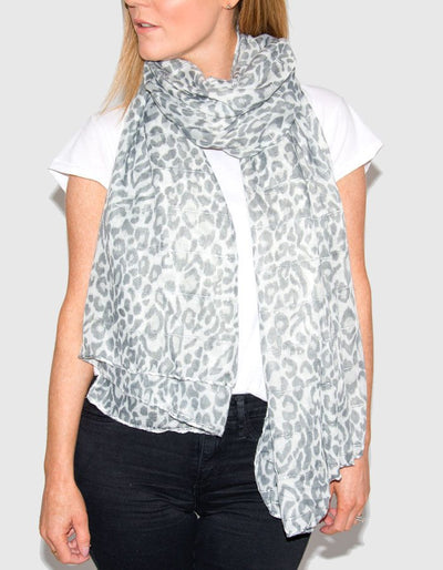 Image Showing Grey Animal Print Scarf
