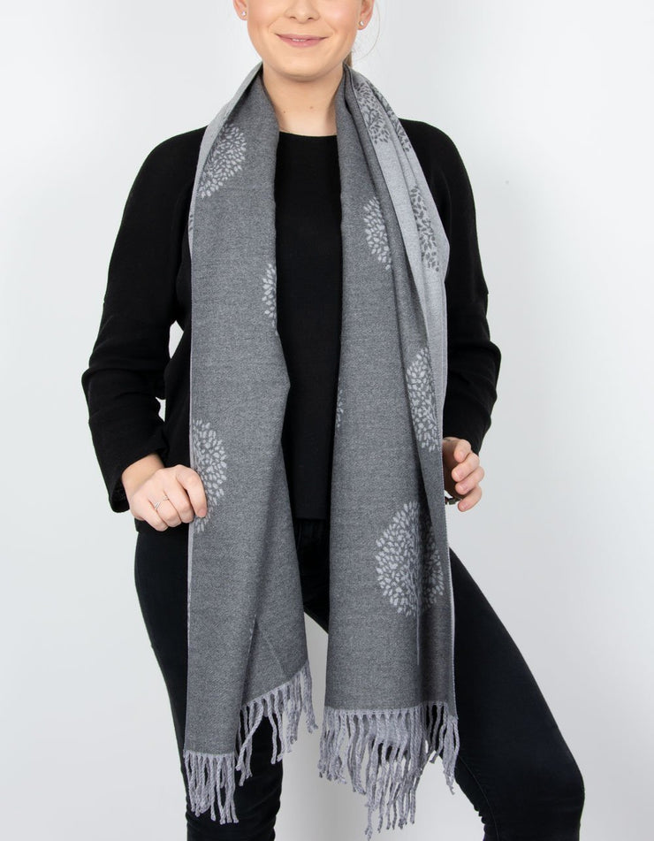 an image showing a grey and dark grey mulberry print scarf