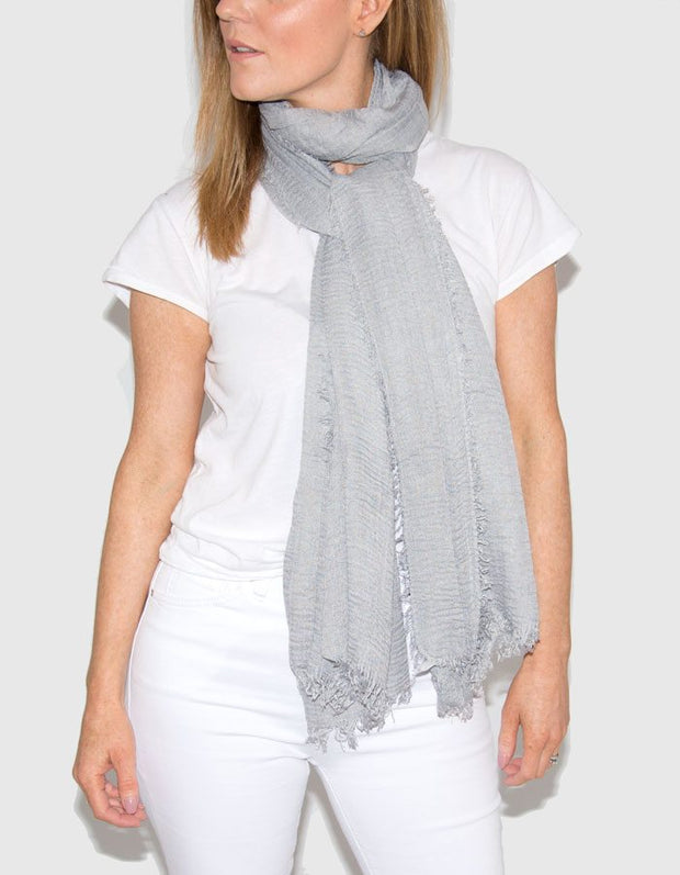 Image Showing Grey Cotton Mix Scarf