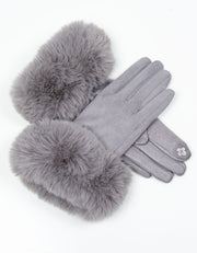 Light Grey Faux Fur Gloves