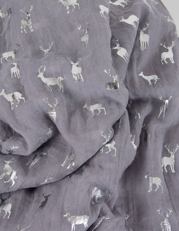 an image showing a Grey Glitter Deers Christmas Scarf