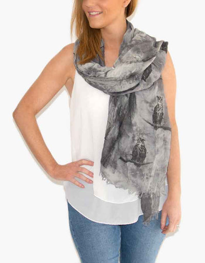an image showing a grey owl print scarf