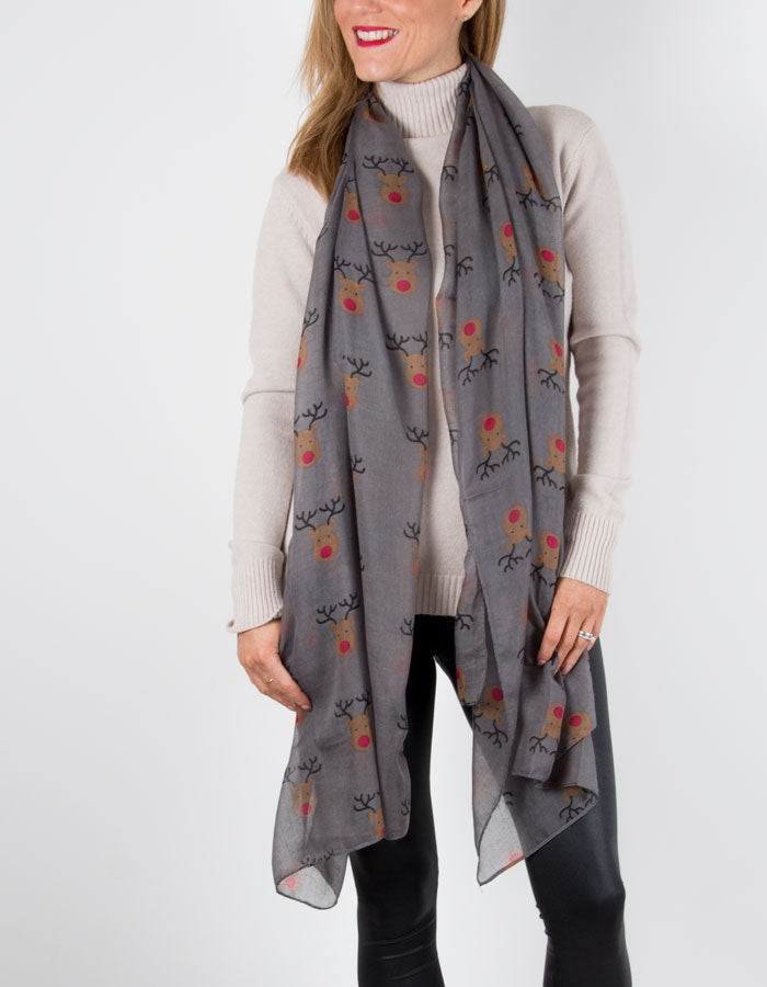 an image showing a Grey Rudolph Christmas Scarf