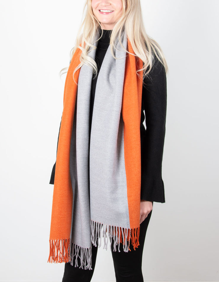 Half & Half Blanket Scarf | Orange & Grey