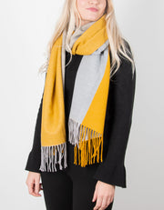 Half & Half Blanket Scarf | Yellow & Grey