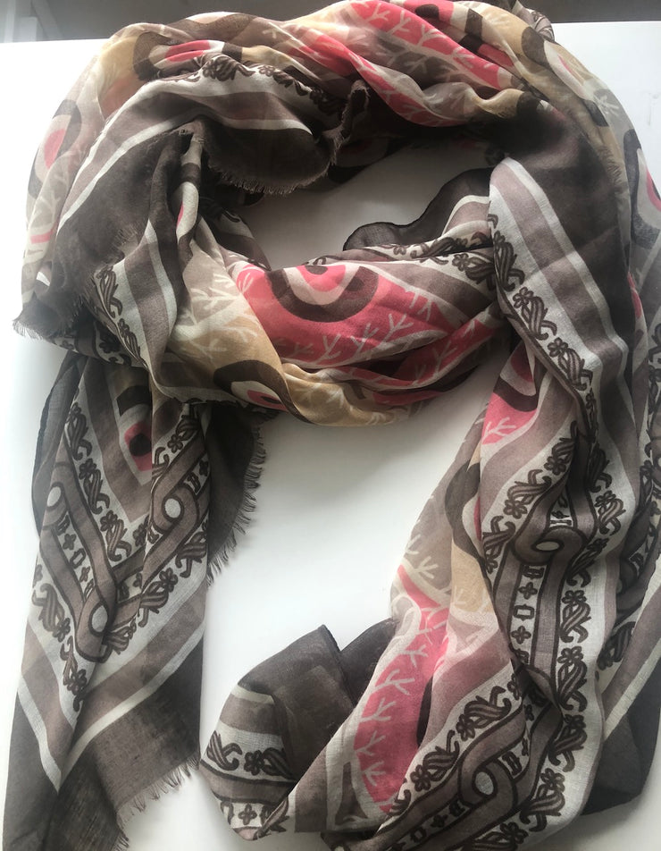 Pink And Brown Abstract Pattern Scarf