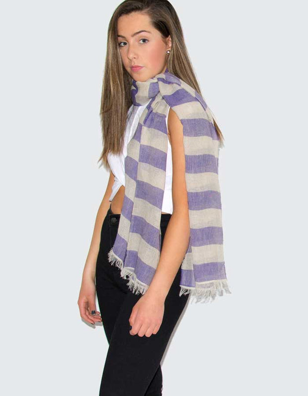 an image showing a Purple Linen Scarf