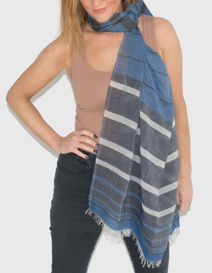 an image showing a linen stripe scarf in royal blue