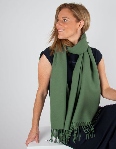 an image showing an khaki green pashmina