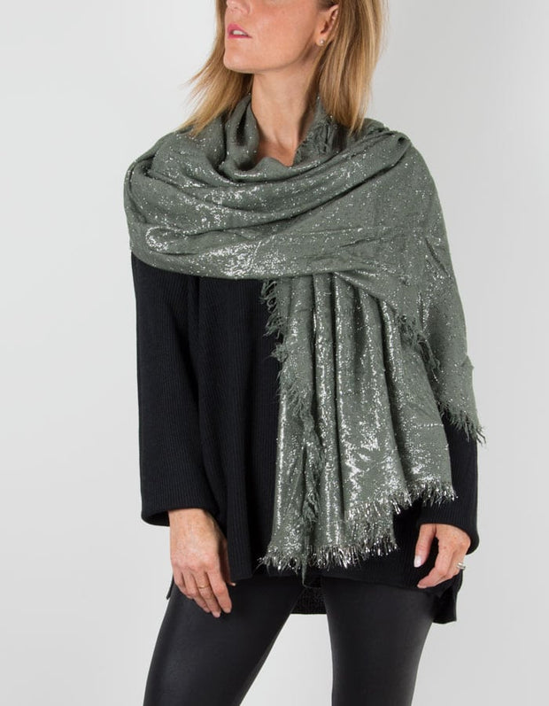 Khaki Green Metallic Pashmina