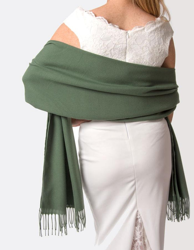 Khaki Green Wedding Pashmina - Made In Italy