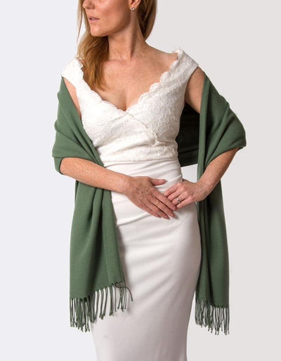 Khaki Green Wedding Pashmina