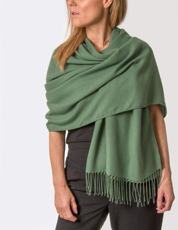 an image showing a khaki green pashmina