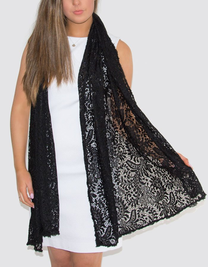 Scarf Room - The No. 37 Label Lace Trim Black Scarf 2