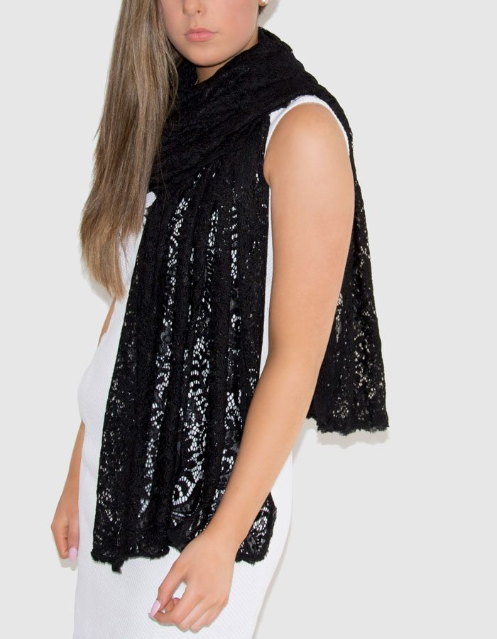 an image showing a floral lace pashmina in black