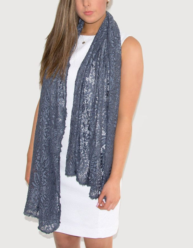 an image showing a floral lace pashmina in blue