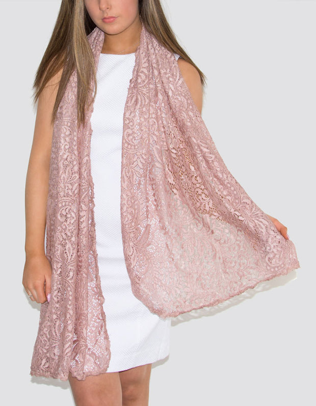 Lace Panel Cotton Silk Mix Pashmina Shawl Wrap Scarf - Dusky Pink