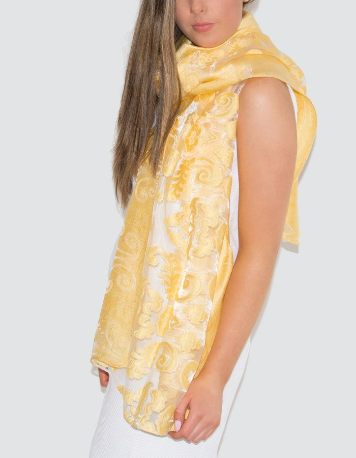 an image showing a lace panel pashmina in yellow