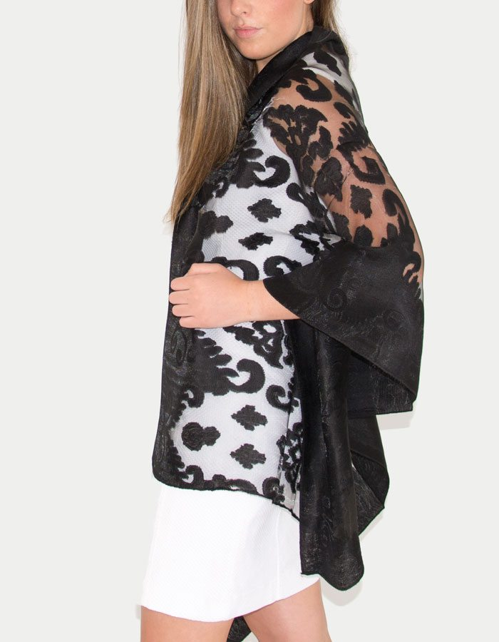 an image showing a lace panel pashmina in black