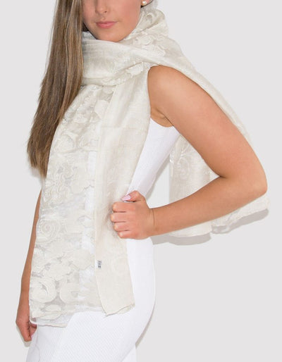 an image showing a lace panel pashmina in ivory