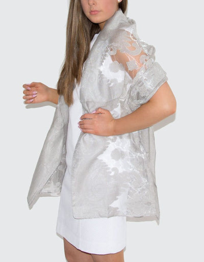 an image showing a lace panel pashmina in pale grey
