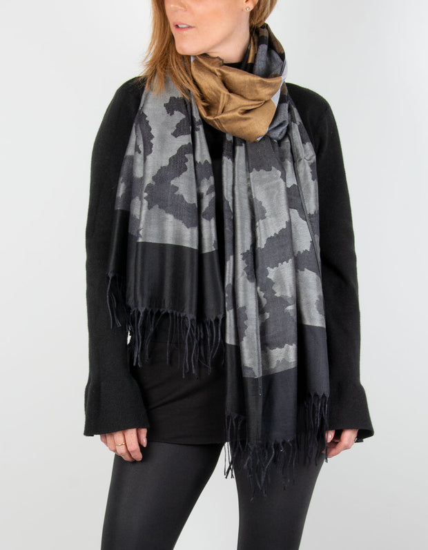 Image showing a Large Animal Print Pashmina Black, Grey & Bronze
