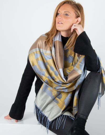 Image showing a Large Animal Print Pashmina Silver, Gold & Bronze