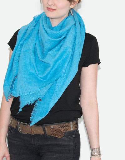 Large Blue Fringed Square Scarf