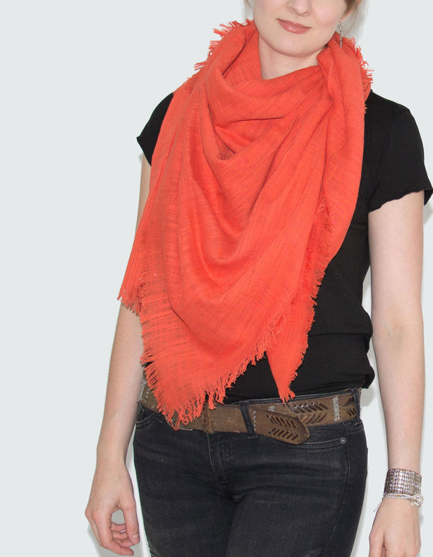Large Coral Fringed Square Scarf