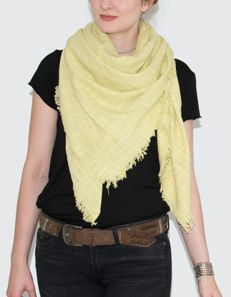 Large Lime Fringed Square Scarf
